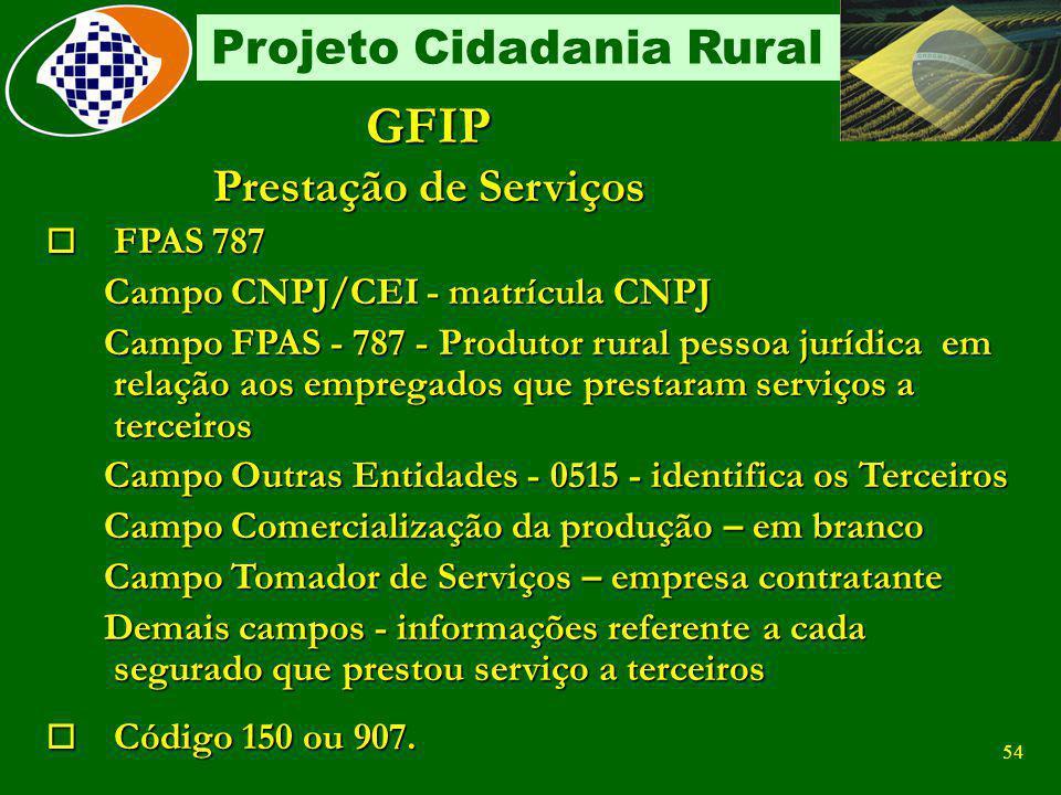 GFIP Prestação de Serviços FPAS 787 Campo CNPJ/CEI - matrícula CNPJ