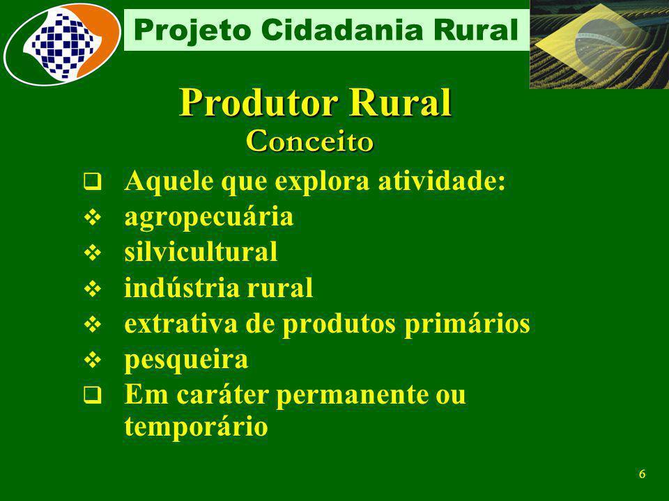 Produtor Rural Conceito Aquele que explora atividade: agropecuária