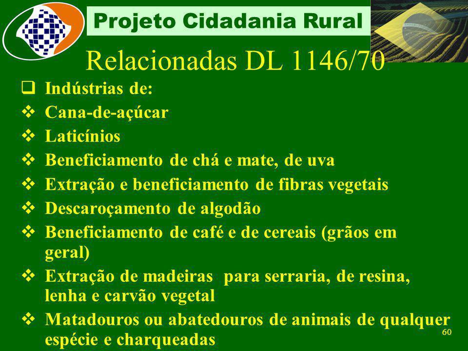 Relacionadas DL 1146/70 Indústrias de: Cana-de-açúcar Laticínios