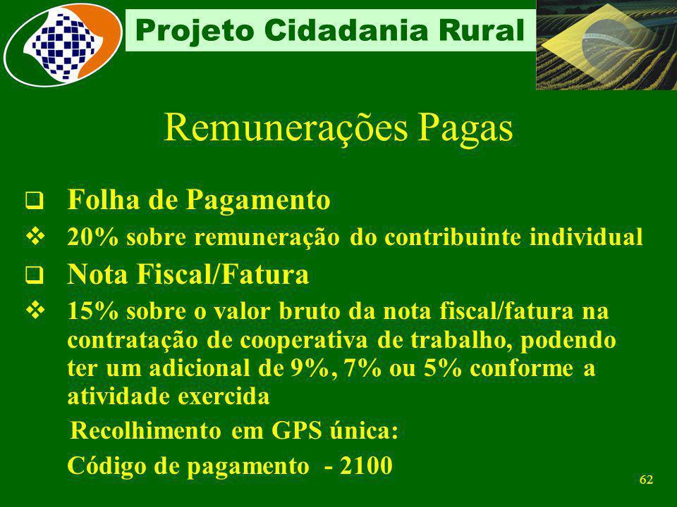 Remunerações Pagas Folha de Pagamento Nota Fiscal/Fatura