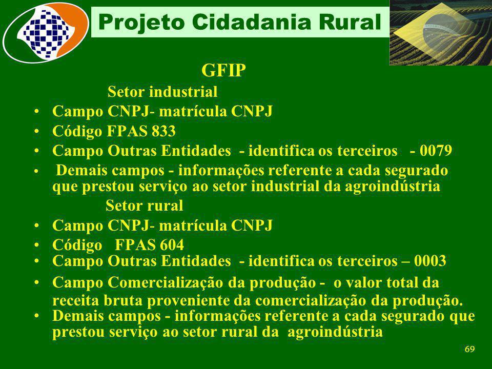 GFIP Setor industrial Campo CNPJ- matrícula CNPJ Código FPAS 833
