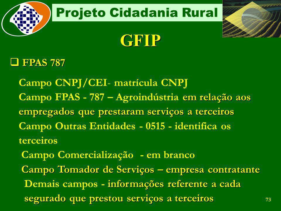 GFIP FPAS 787 Campo CNPJ/CEI- matrícula CNPJ