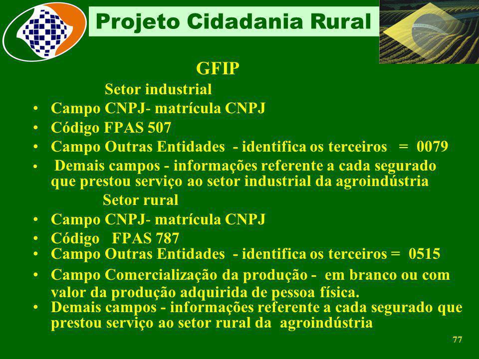 GFIP Setor industrial Campo CNPJ- matrícula CNPJ Código FPAS 507