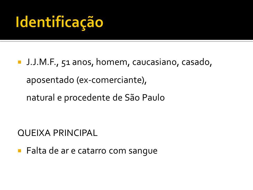 Identificação J.J.M.F., 51 anos, homem, caucasiano, casado, aposentado (ex-comerciante), natural e procedente de São Paulo.