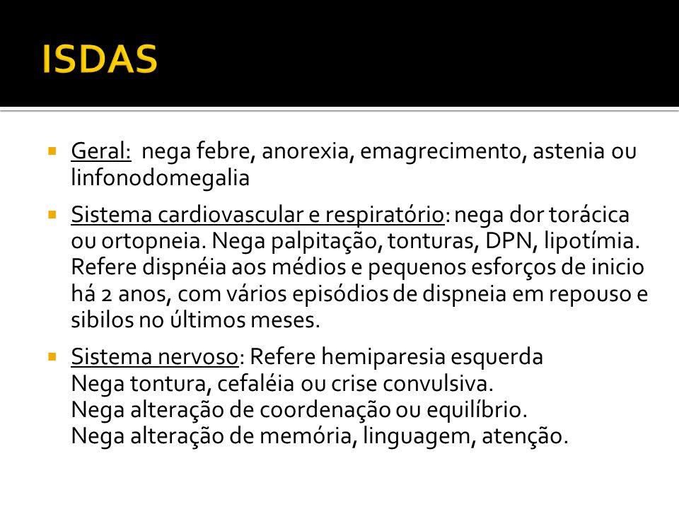 ISDAS Geral: nega febre, anorexia, emagrecimento, astenia ou linfonodomegalia.