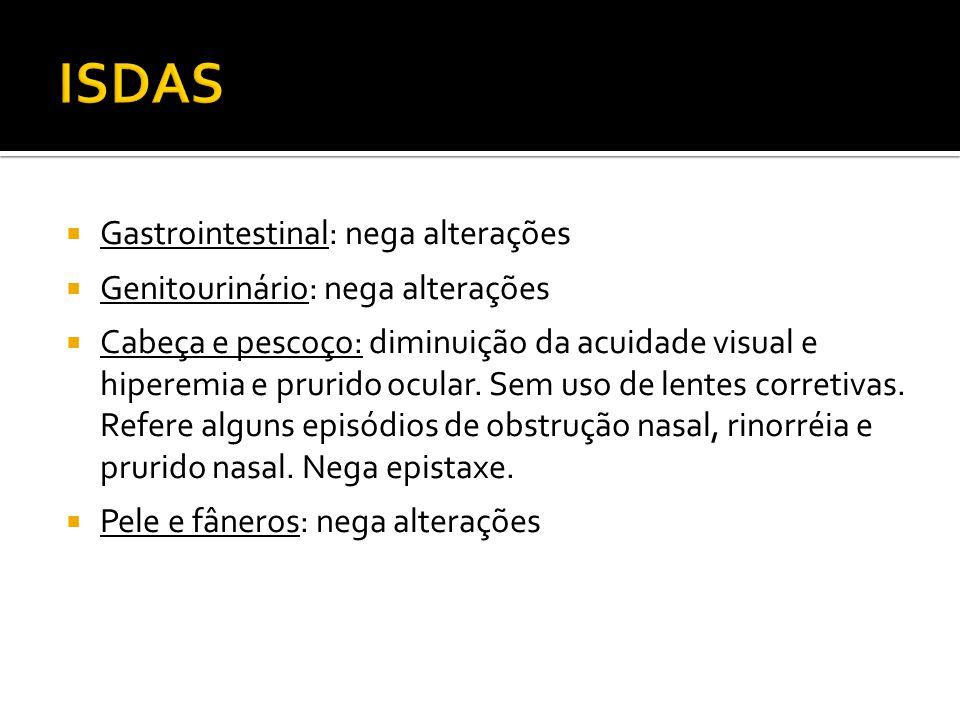 ISDAS Gastrointestinal: nega alterações