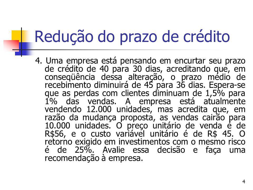 Redução do prazo de crédito