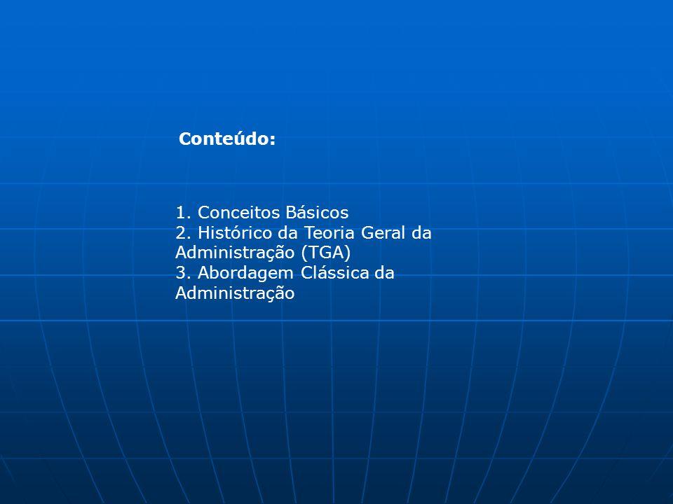 Conteúdo: 1. Conceitos Básicos. 2. Histórico da Teoria Geral da Administração (TGA) 3.