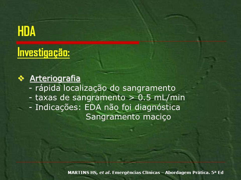 HDA Investigação: Arteriografia - rápida localização do sangramento