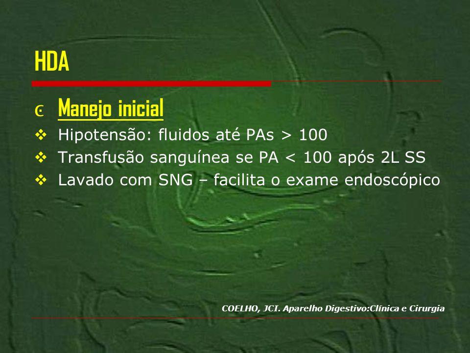 HDA Manejo inicial Hipotensão: fluidos até PAs > 100