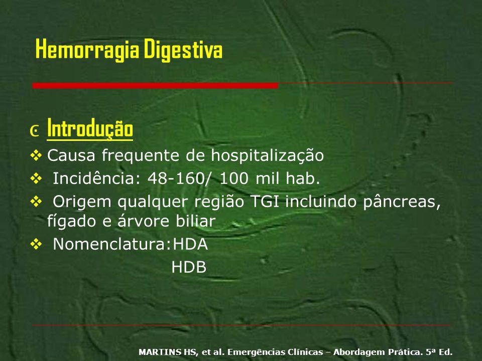 Hemorragia Digestiva Introdução Causa frequente de hospitalização