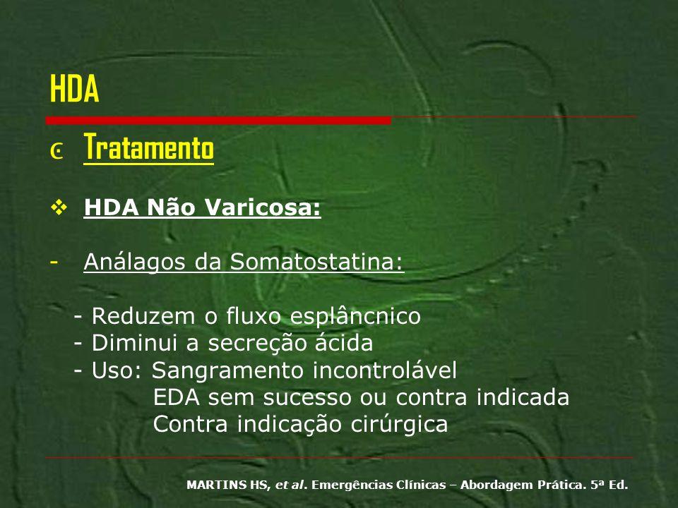 HDA Tratamento HDA Não Varicosa: Análagos da Somatostatina: