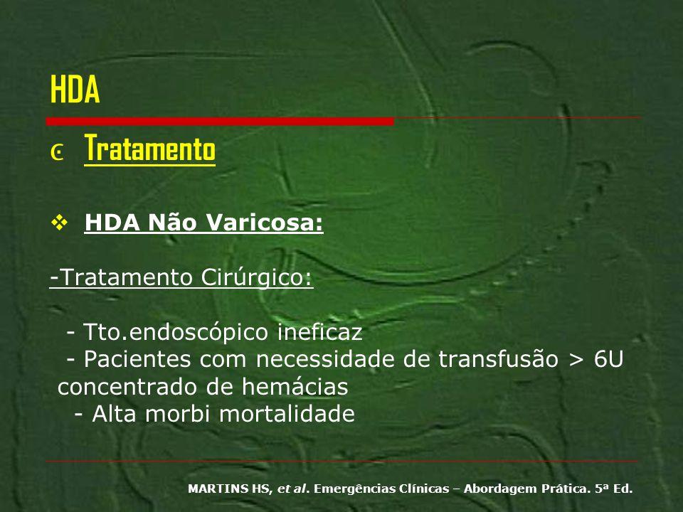 HDA Tratamento HDA Não Varicosa: -Tratamento Cirúrgico: