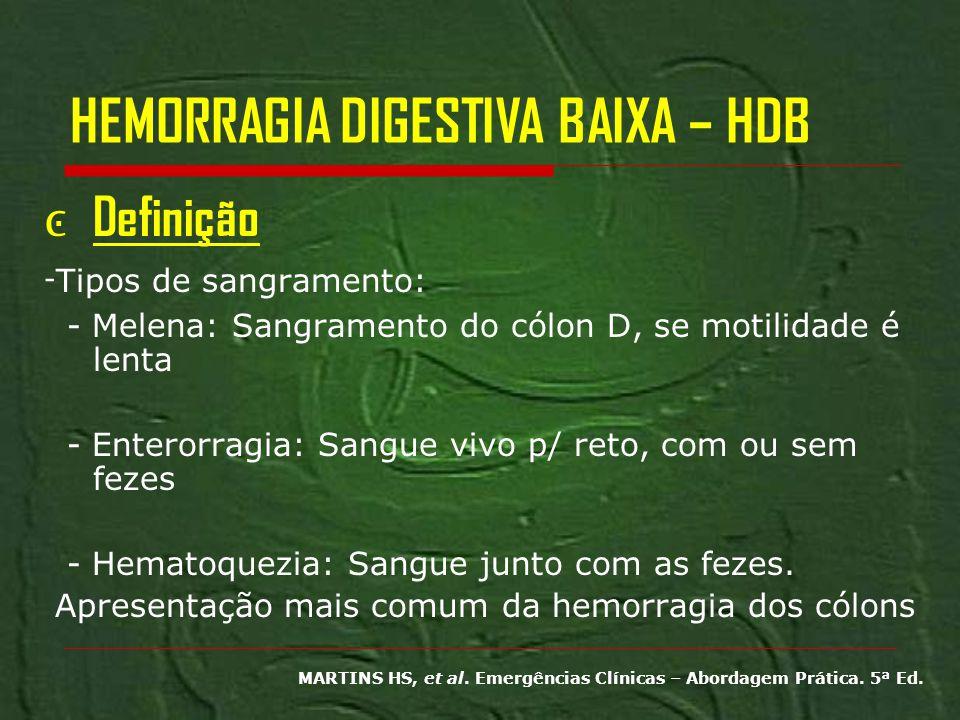 HEMORRAGIA DIGESTIVA BAIXA – HDB