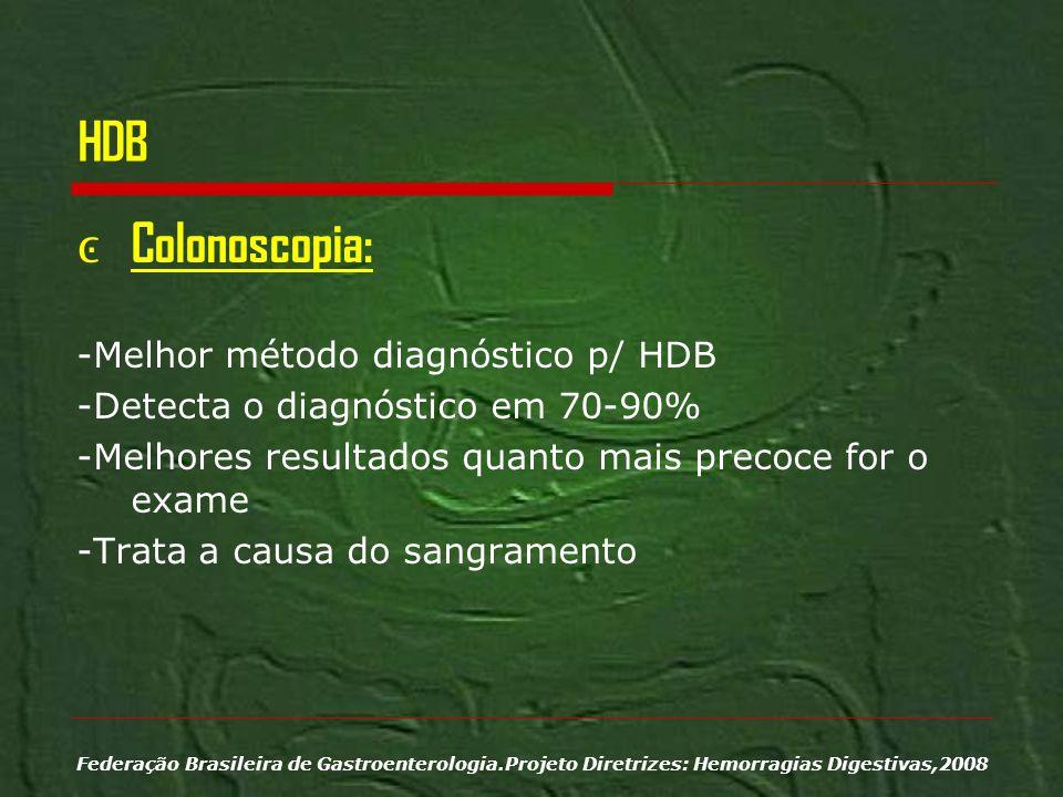 HDB Colonoscopia: -Melhor método diagnóstico p/ HDB