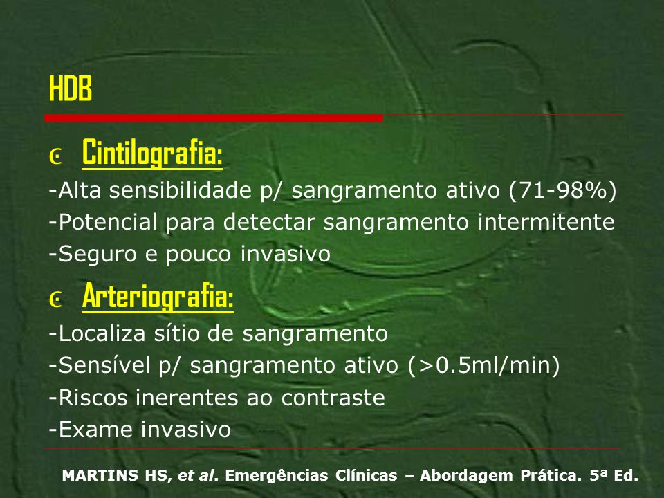HDB Cintilografia: Arteriografia: