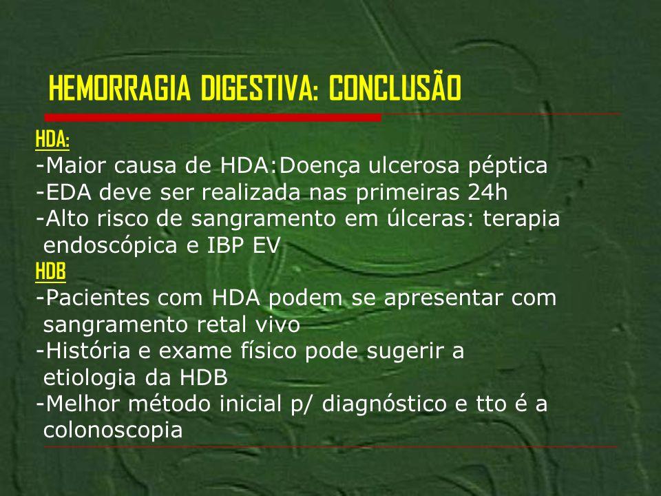 HEMORRAGIA DIGESTIVA: CONCLUSÃO