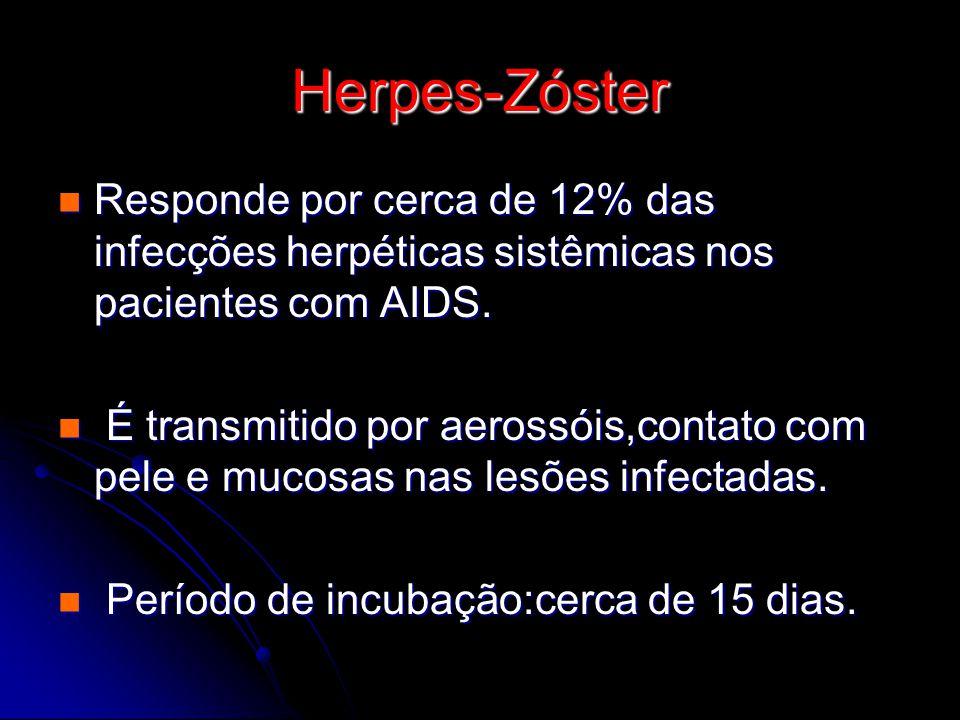 Herpes-Zóster Responde por cerca de 12% das infecções herpéticas sistêmicas nos pacientes com AIDS.