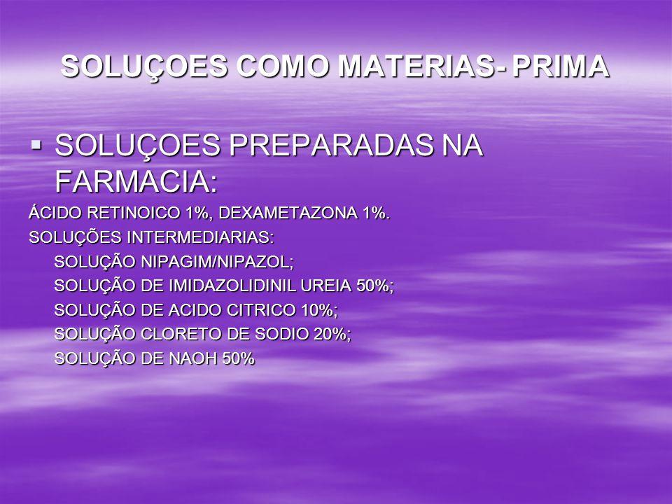 SOLUÇOES COMO MATERIAS- PRIMA
