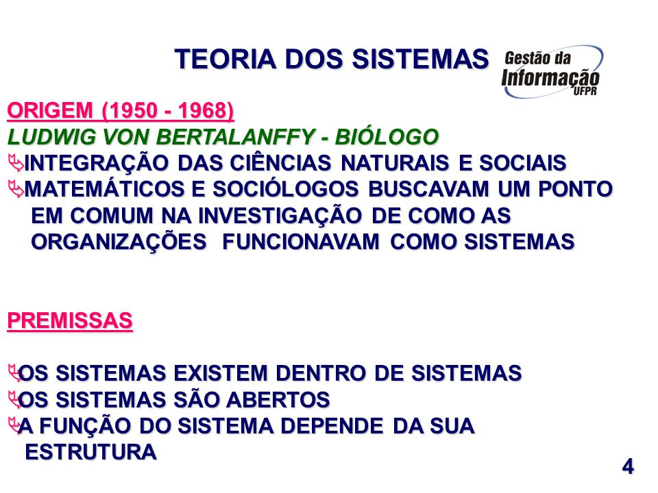 TEORIA DOS SISTEMAS ORIGEM (1950 - 1968)