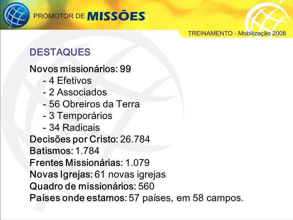 DESTAQUES Novos missionários: 99. - 4 Efetivos. - 2 Associados. - 56 Obreiros da Terra. - 3 Temporários.