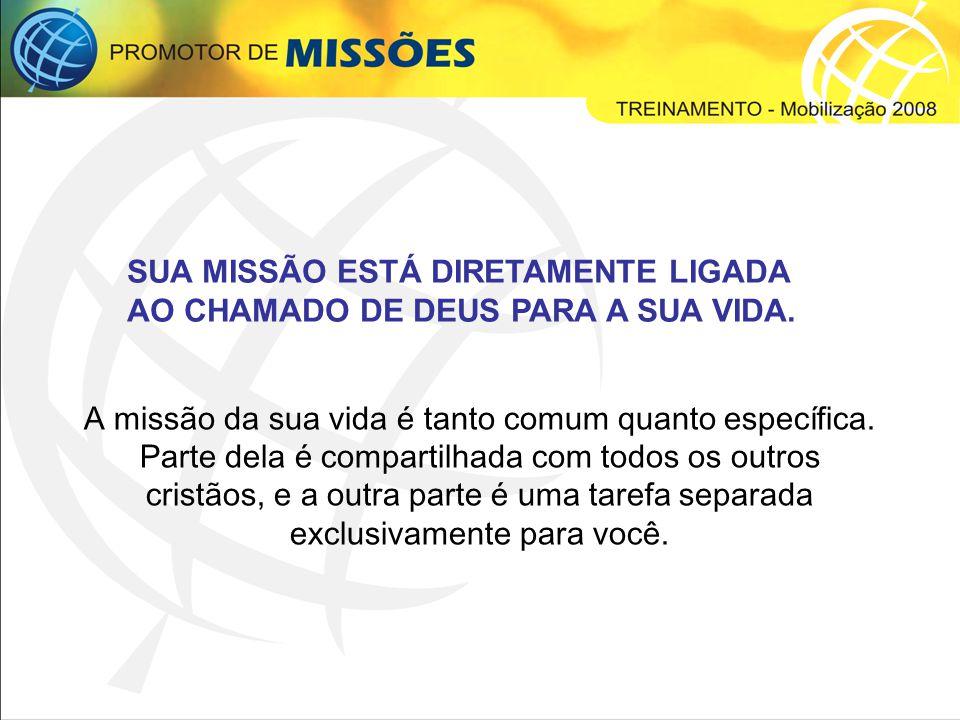SUA MISSÃO ESTÁ DIRETAMENTE LIGADA