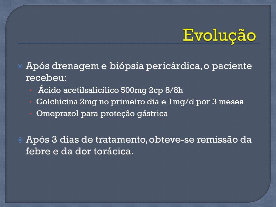 Evolução Após drenagem e biópsia pericárdica, o paciente recebeu: