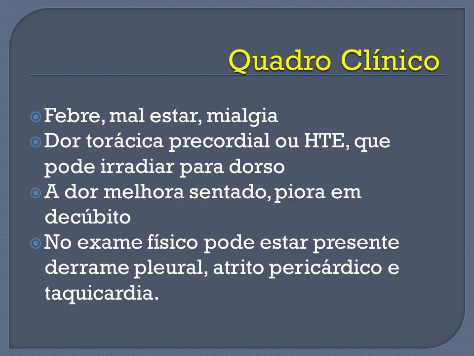 Quadro Clínico Febre, mal estar, mialgia