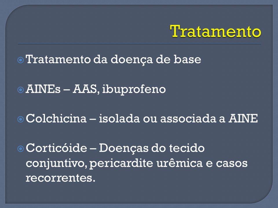 Tratamento Tratamento da doença de base AINEs – AAS, ibuprofeno
