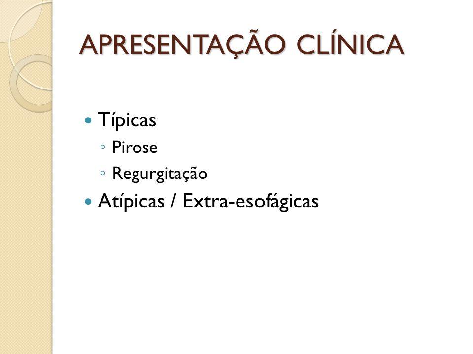 APRESENTAÇÃO CLÍNICA Típicas Atípicas / Extra-esofágicas Pirose