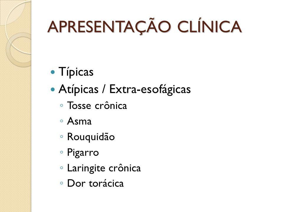 APRESENTAÇÃO CLÍNICA Típicas Atípicas / Extra-esofágicas Tosse crônica