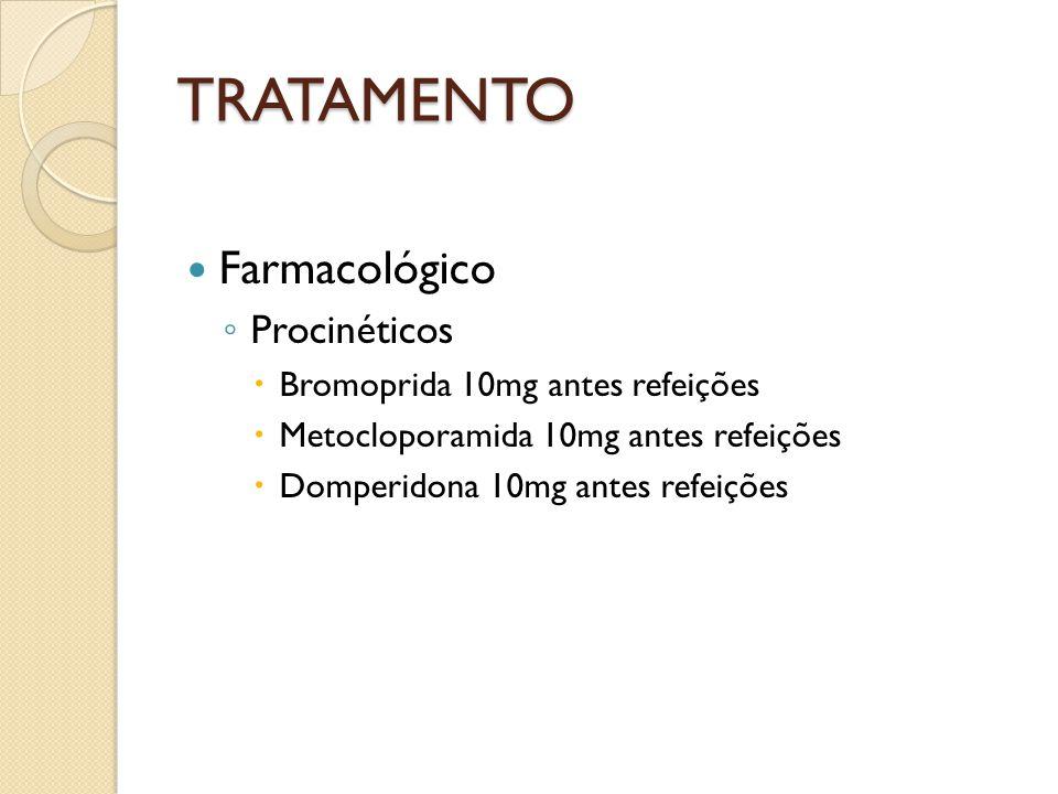 TRATAMENTO Farmacológico Procinéticos Bromoprida 10mg antes refeições