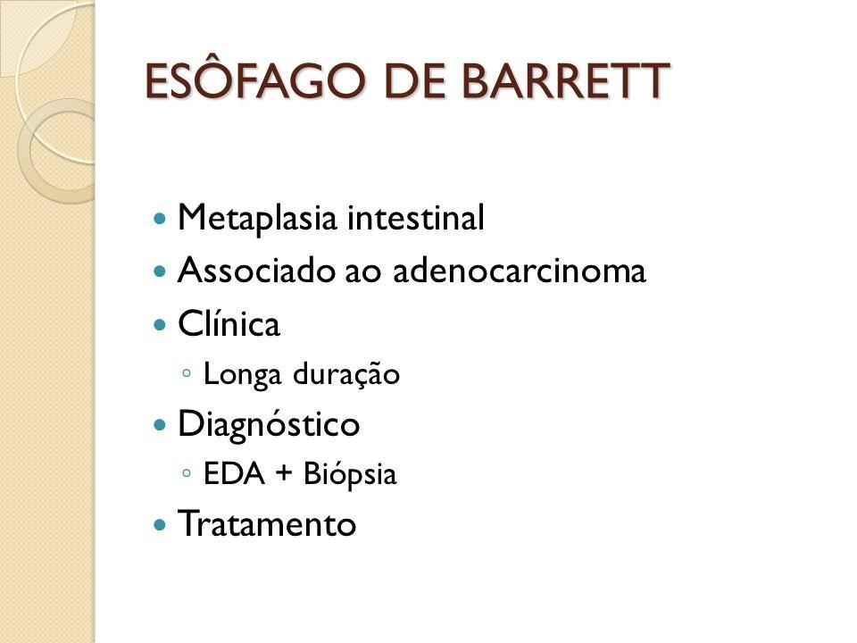 ESÔFAGO DE BARRETT Metaplasia intestinal Associado ao adenocarcinoma