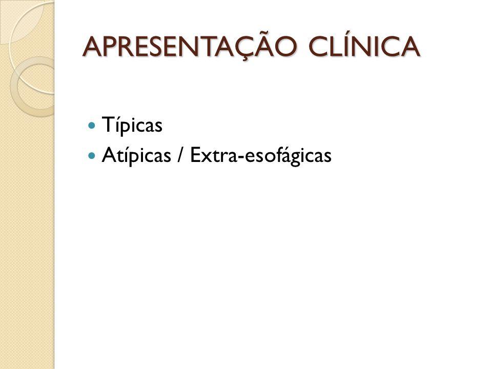 APRESENTAÇÃO CLÍNICA Típicas Atípicas / Extra-esofágicas