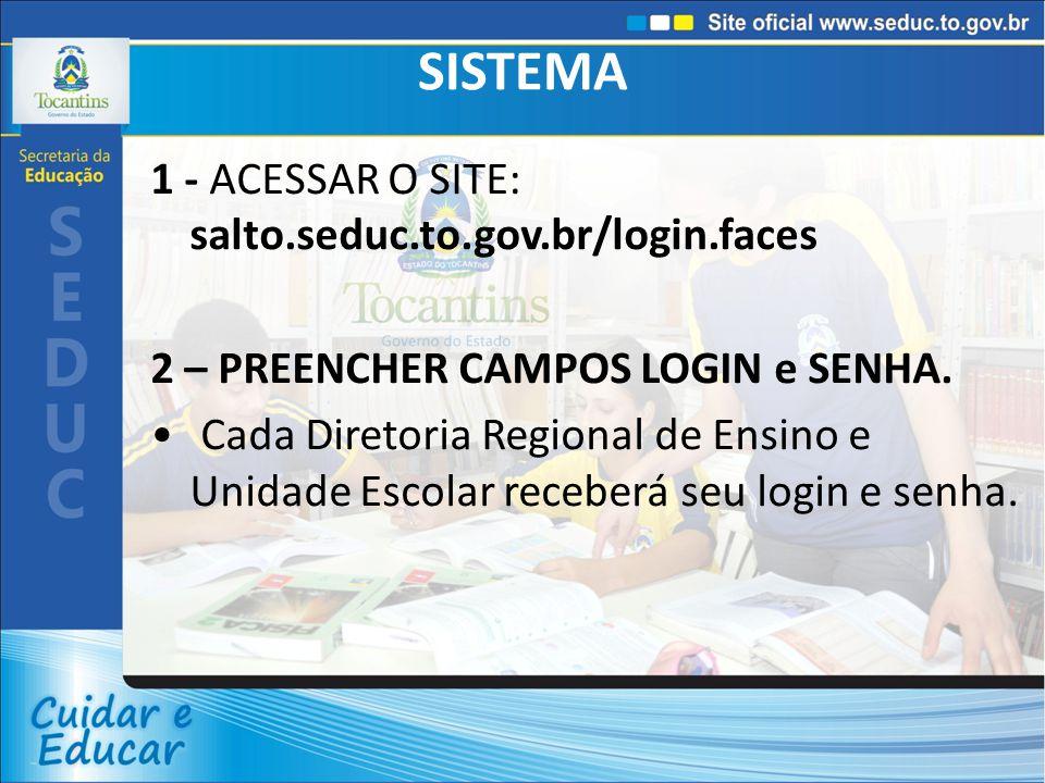 SISTEMA 1 - ACESSAR O SITE: salto.seduc.to.gov.br/login.faces