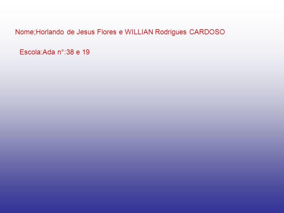 Nome;Horlando de Jesus Flores e WILLIAN Rodrigues CARDOSO