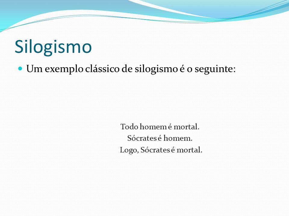 Silogismo Um exemplo clássico de silogismo é o seguinte: