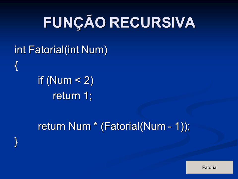 FUNÇÃO RECURSIVA int Fatorial(int Num) { if (Num < 2) return 1;