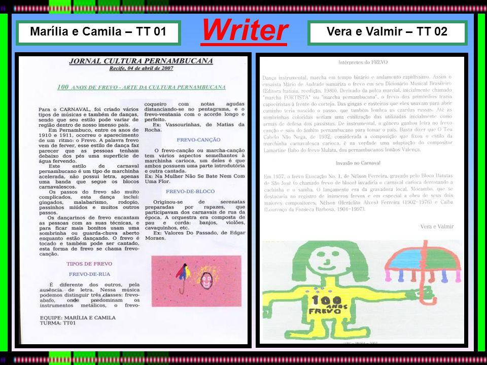 Writer Marília e Camila – TT 01 Vera e Valmir – TT 02
