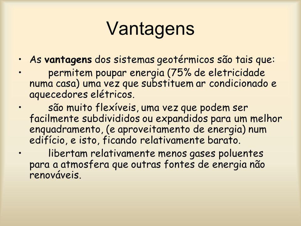 Vantagens As vantagens dos sistemas geotérmicos são tais que: