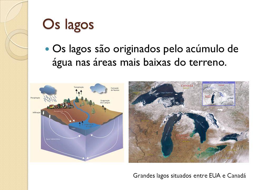 Os lagos Os lagos são originados pelo acúmulo de água nas áreas mais baixas do terreno.