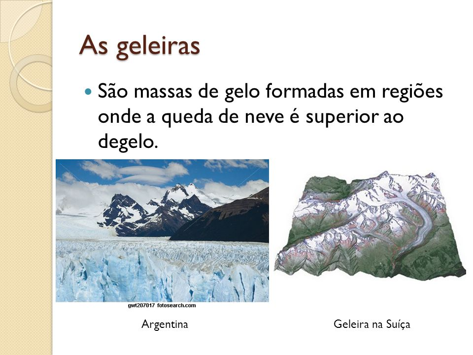 As geleiras São massas de gelo formadas em regiões onde a queda de neve é superior ao degelo. Argentina.