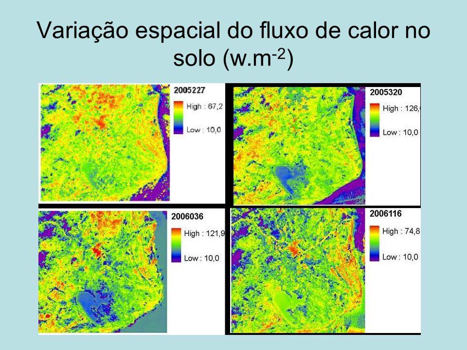 Variação espacial do fluxo de calor no solo (w.m-2)