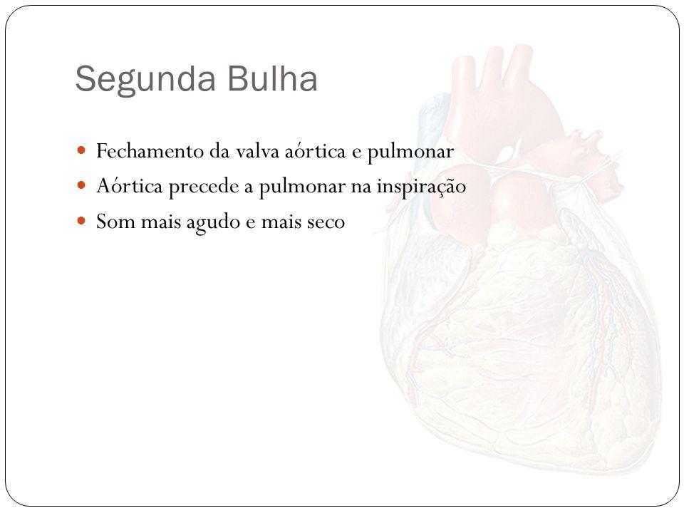 Segunda Bulha Fechamento da valva aórtica e pulmonar