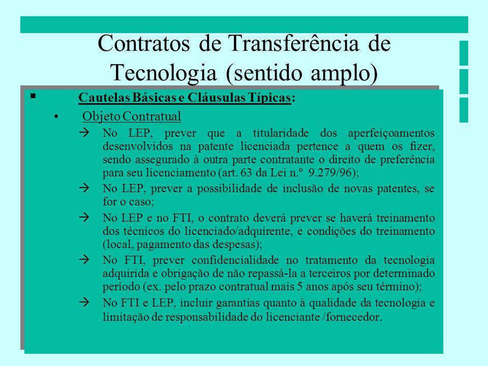 Contratos de Transferência de Tecnologia (sentido amplo)