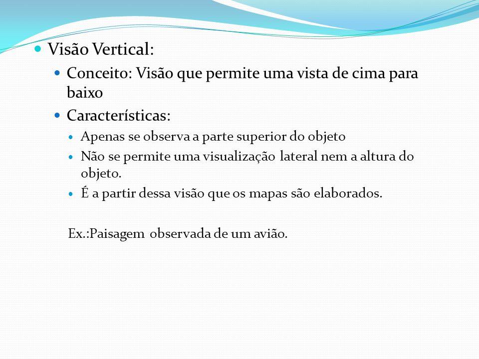 Visão Vertical: Conceito: Visão que permite uma vista de cima para baixo. Características: Apenas se observa a parte superior do objeto.