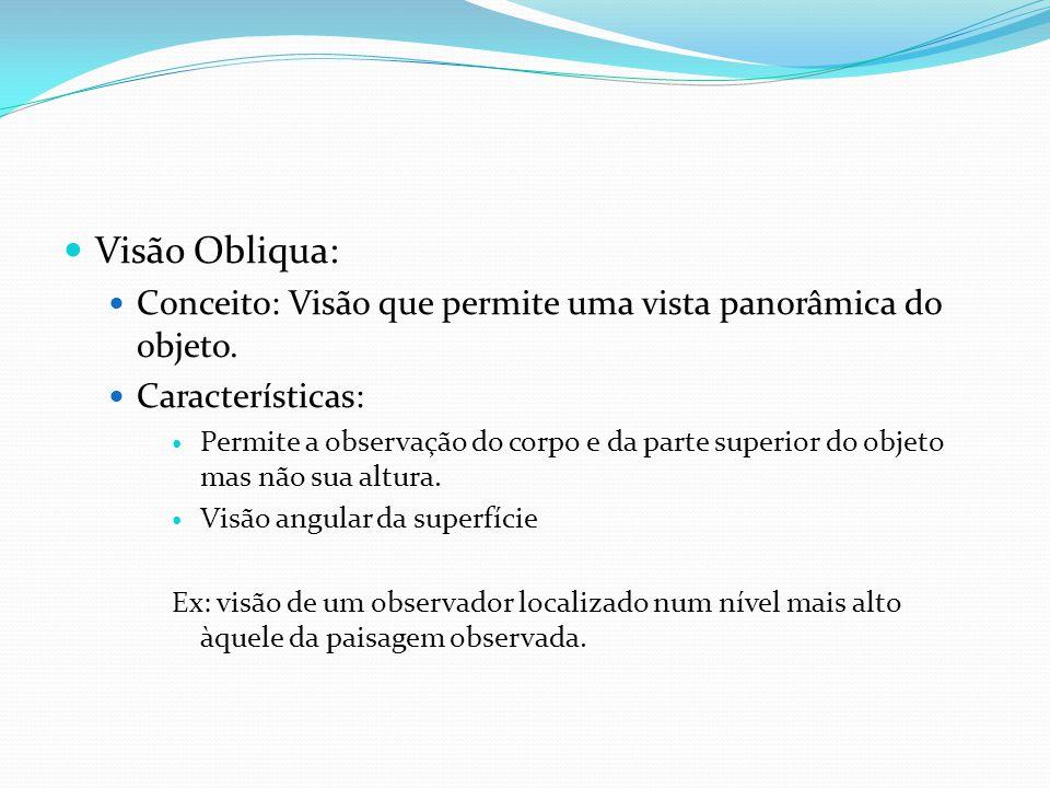 Visão Obliqua: Conceito: Visão que permite uma vista panorâmica do objeto. Características: