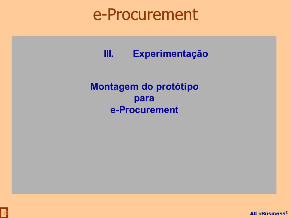 e-Procurement III. Experimentação Montagem do protótipo para