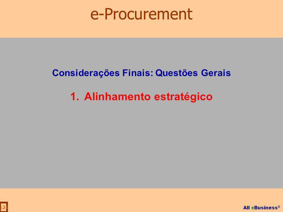 Considerações Finais: Questões Gerais Alinhamento estratégico