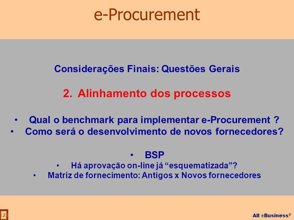 e-Procurement Alinhamento dos processos